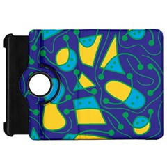 Playful abstract art - blue and yellow Kindle Fire HD Flip 360 Case