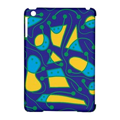 Playful abstract art - blue and yellow Apple iPad Mini Hardshell Case (Compatible with Smart Cover)