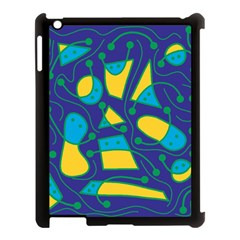 Playful abstract art - blue and yellow Apple iPad 3/4 Case (Black)
