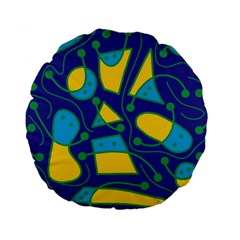 Playful abstract art - blue and yellow Standard 15  Premium Round Cushions