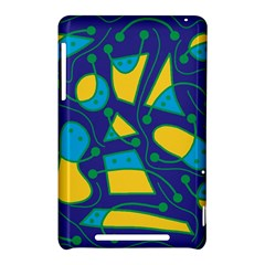 Playful abstract art - blue and yellow Nexus 7 (2012)