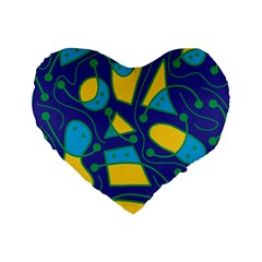 Playful abstract art - blue and yellow Standard 16  Premium Heart Shape Cushions