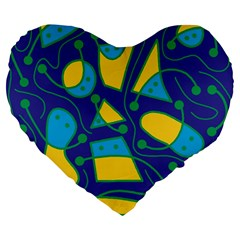 Playful abstract art - blue and yellow Large 19  Premium Heart Shape Cushions