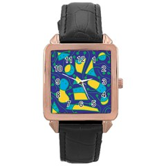 Playful abstract art - blue and yellow Rose Gold Leather Watch