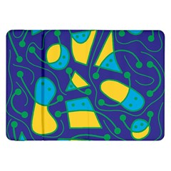 Playful abstract art - blue and yellow Samsung Galaxy Tab 8.9  P7300 Flip Case