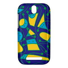 Playful abstract art - blue and yellow HTC One SV Hardshell Case