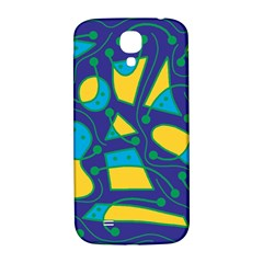 Playful abstract art - blue and yellow Samsung Galaxy S4 I9500/I9505  Hardshell Back Case