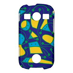 Playful abstract art - blue and yellow Samsung Galaxy S7710 Xcover 2 Hardshell Case
