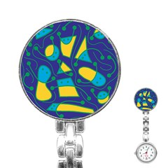 Playful abstract art - blue and yellow Stainless Steel Nurses Watch