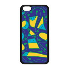 Playful abstract art - blue and yellow Apple iPhone 5C Seamless Case (Black)