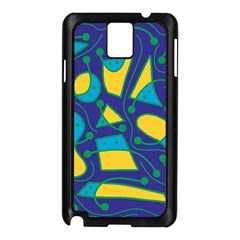 Playful abstract art - blue and yellow Samsung Galaxy Note 3 N9005 Case (Black)
