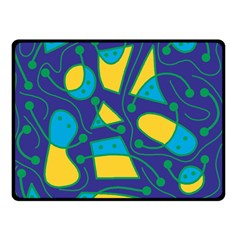 Playful abstract art - blue and yellow Double Sided Fleece Blanket (Small)