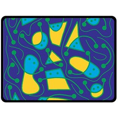 Playful abstract art - blue and yellow Double Sided Fleece Blanket (Large)