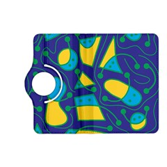 Playful abstract art - blue and yellow Kindle Fire HD (2013) Flip 360 Case