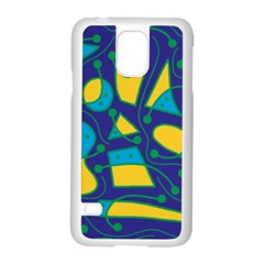 Playful abstract art - blue and yellow Samsung Galaxy S5 Case (White)