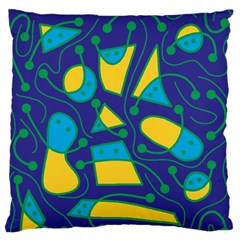Playful abstract art - blue and yellow Large Flano Cushion Case (One Side)