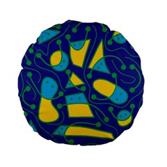 Playful abstract art - blue and yellow Standard 15  Premium Flano Round Cushions