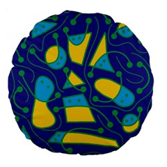 Playful abstract art - blue and yellow Large 18  Premium Flano Round Cushions