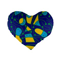 Playful abstract art - blue and yellow Standard 16  Premium Flano Heart Shape Cushions