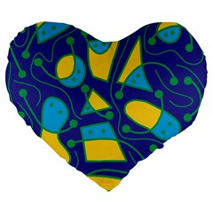 Playful abstract art - blue and yellow Large 19  Premium Flano Heart Shape Cushions