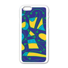Playful abstract art - blue and yellow Apple iPhone 6/6S White Enamel Case