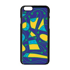 Playful abstract art - blue and yellow Apple iPhone 6/6S Black Enamel Case