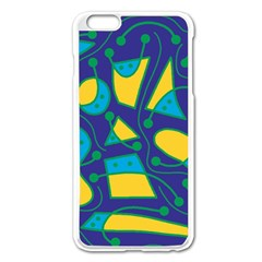 Playful abstract art - blue and yellow Apple iPhone 6 Plus/6S Plus Enamel White Case