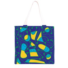 Playful abstract art - blue and yellow Grocery Light Tote Bag