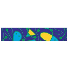 Playful abstract art - blue and yellow Flano Scarf (Small)
