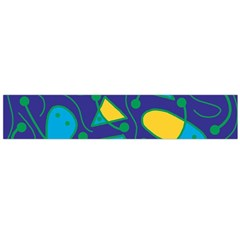 Playful abstract art - blue and yellow Flano Scarf (Large)