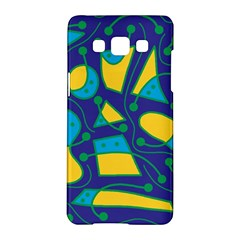 Playful abstract art - blue and yellow Samsung Galaxy A5 Hardshell Case