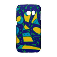 Playful abstract art - blue and yellow Galaxy S6 Edge