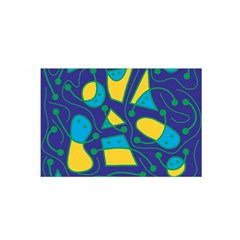Playful abstract art - blue and yellow Satin Wrap