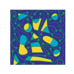Playful abstract art - blue and yellow Small Satin Scarf (Square)