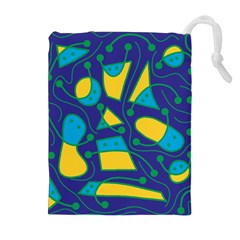 Playful abstract art - blue and yellow Drawstring Pouches (Extra Large)