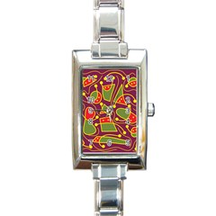 Playful decorative abstract art Rectangle Italian Charm Watch