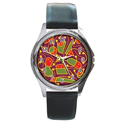 Playful decorative abstract art Round Metal Watch