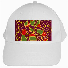 Playful decorative abstract art White Cap