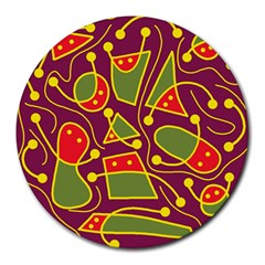 Playful decorative abstract art Round Mousepads