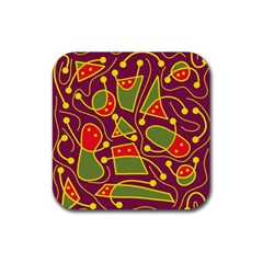 Playful decorative abstract art Rubber Square Coaster (4 pack)