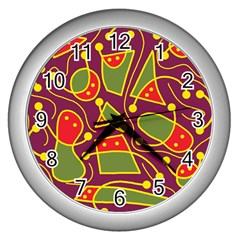 Playful decorative abstract art Wall Clocks (Silver)