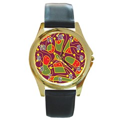 Playful decorative abstract art Round Gold Metal Watch