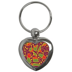 Playful decorative abstract art Key Chains (Heart)
