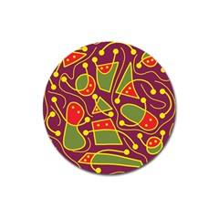 Playful decorative abstract art Magnet 3  (Round)