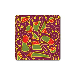 Playful decorative abstract art Square Magnet