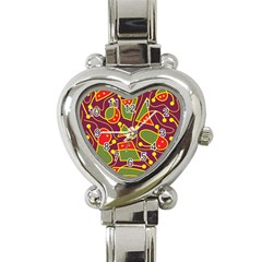 Playful Decorative Abstract Art Heart Italian Charm Watch