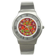Playful decorative abstract art Stainless Steel Watch