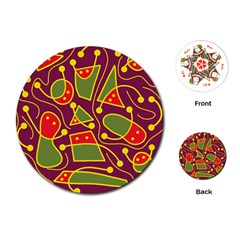 Playful decorative abstract art Playing Cards (Round)