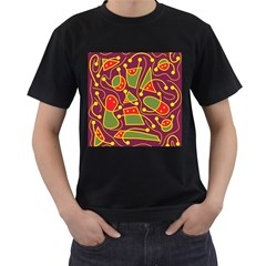 Playful decorative abstract art Men s T-Shirt (Black)