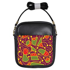 Playful decorative abstract art Girls Sling Bags